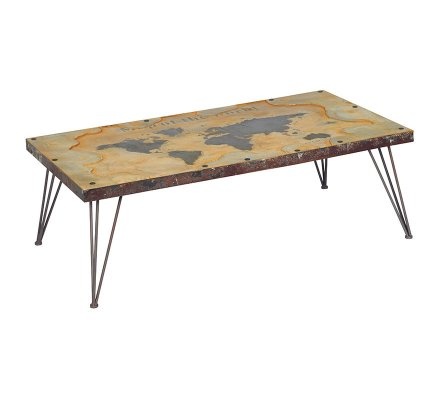 "Table basse en verre 140 ""Globe trotter"""