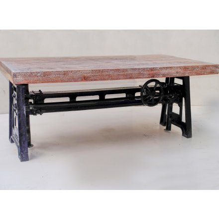 Table Plateau Bois Pied Metal.Table Basse Plateau Bois Et Pied En Fonte Relevable Manivelle