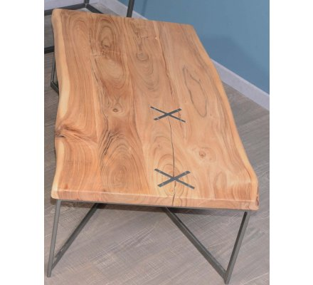 Table Basse Tronc Rectangulaire Metal Et Bois 117 Cm Zen