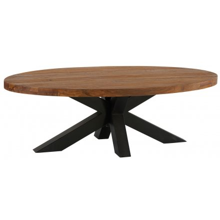 Table basse ovale en teck massif recyclé rectangulaire