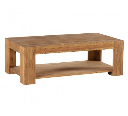 "Table basse pin massif brossé""Cooper"""
