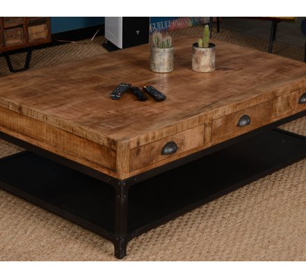 Table basse rectangulaire 140cm 6 tiroirs manguier massif