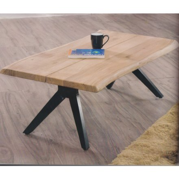 """Table basse naturel métal et bois rectangulaire 110 cm """"Zen Black"""""""