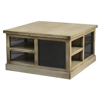 """Table basse carrée avec rangement métal et bois"""" Caractère"""""""