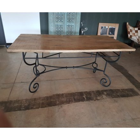 "Table rectangulaire fer forgé Bois massif "" Campagne Antique"""