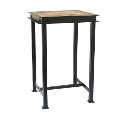 Pack table haute carr e m tal bois avec 2 tabourets de bar Table bar carree