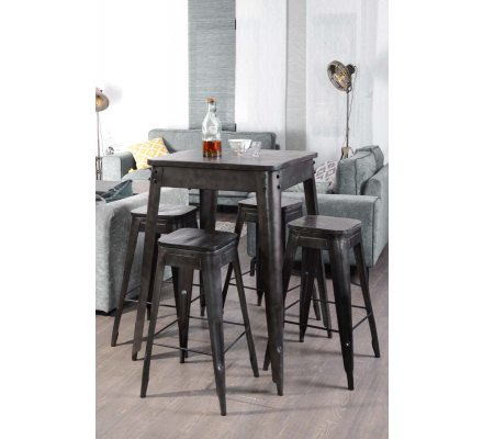 table haute industrielle carr e 70x70cm snack indus 7179. Black Bedroom Furniture Sets. Home Design Ideas