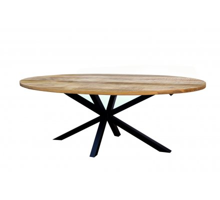 "Table ovale en bois massif naturel pied métal en 220 cm ""New-york"""