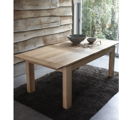 "Table rectangulaire + 2 allonges chêne massif ""Stockholm naturel"" 160cm"