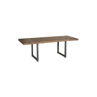 "Table rectangulaire 160 teck massif naturel avec 2 allonges Casita ""WALES"""