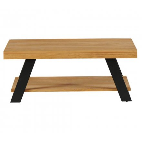 """Table basse scandinave en bois massif avec double plateau """"Cardif"""""""