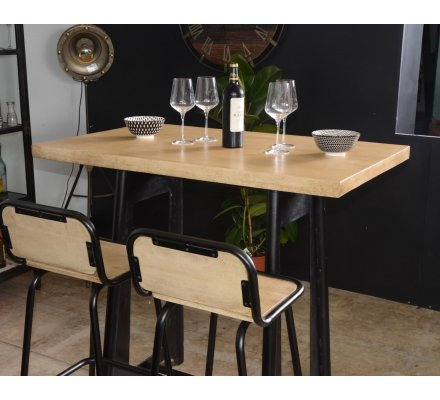 Table Haute Industrielle 120cm Metal Et Bois Los Angeles 7941