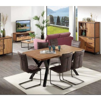 "Table en teck massif naturel pied métal en 191 cm ""Roster"""
