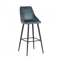 """Chaise de bar toucher velours bleu pétrole et pieds métal """"Casta"""""""