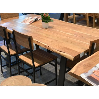 Table pied métal et bois massif naturel 200 'Zen black'