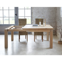 """Table de repas carrée chêne massif avec allonge """"Bella' 125cm"""