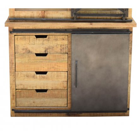 """Petit vaisselier en métal et bois de manguier massif """"Caractère"""""""