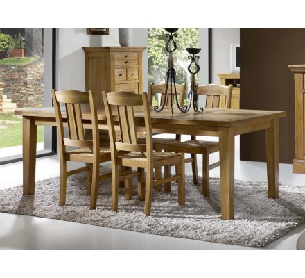 "Table rectangulaire 100 % chêne massif ""Bianca"" 200cm ou 220cm + allonges"