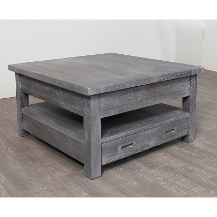 "Table basse carrée chêne massif grise ""Bella"""