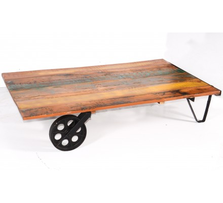 Table basse industrielle sur roue 'Atelier grey'