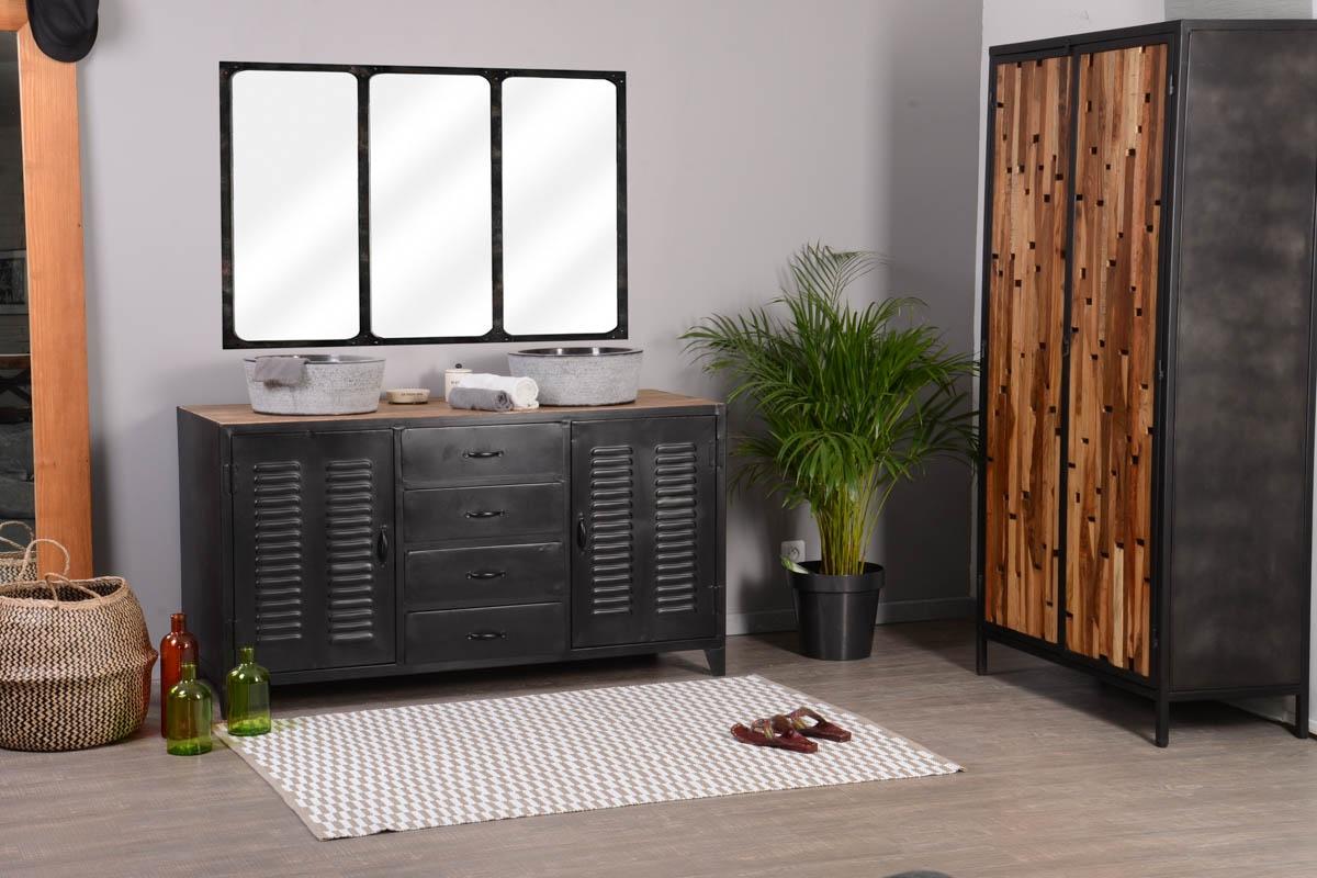 Salle De Bain Industrielle meuble de salle de bain industriel métal noir 2 vasques