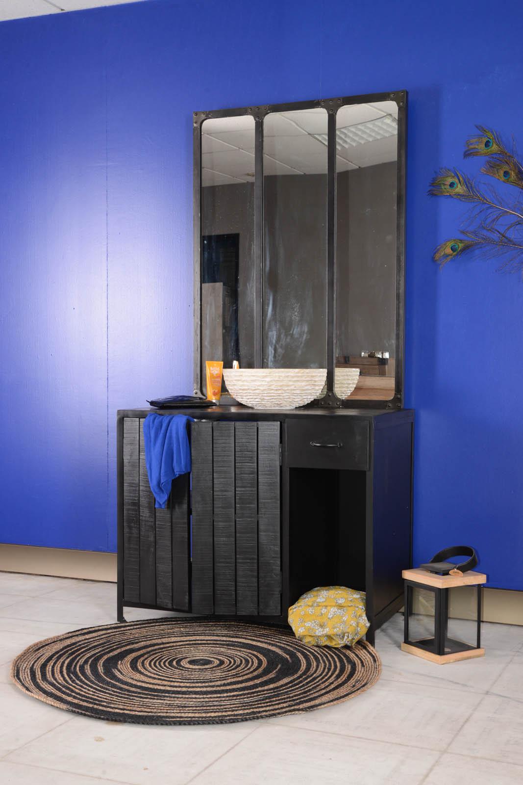 Meuble salle de bain métal et bois noir