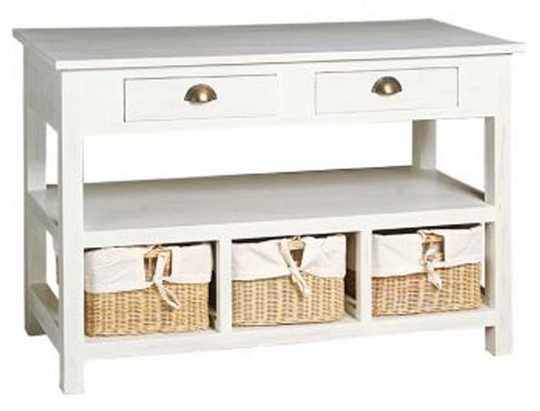 Mobilier table meuble avec panier osier - Meuble rangement avec panier ...