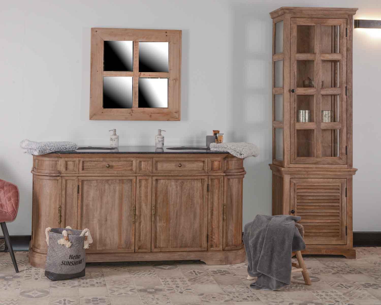"""Meuble salle de bain marbre 16 vasques bois massif arrondi """"Églantine"""""""