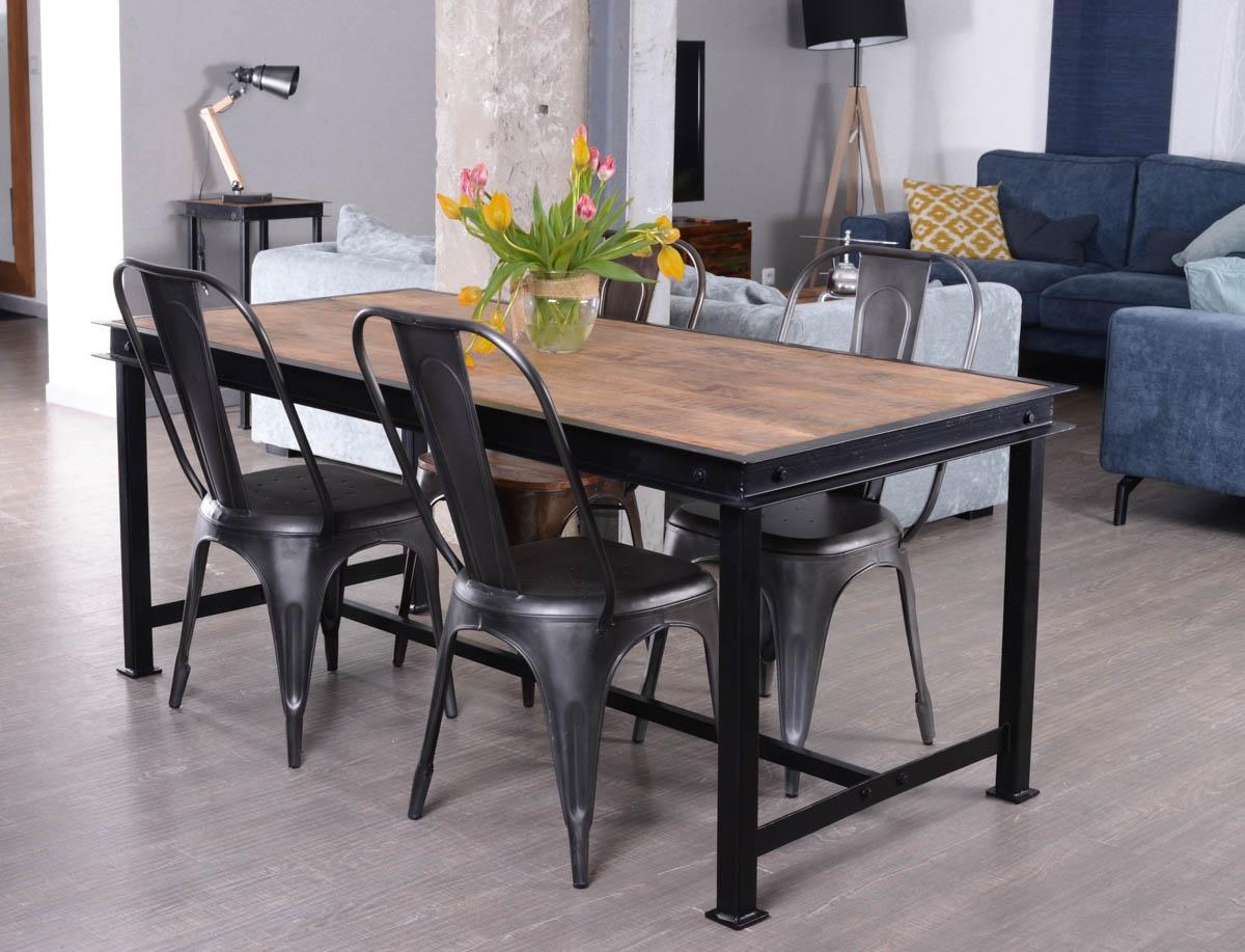 Table de repas métal et bois massif en 180 cm IPN 7413